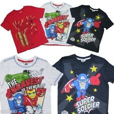 3 Pack Boys Marvel Superhero Squad Avengers T Shirt Top Ages 2-8 Years Hulk Thor