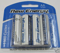 4 Rechargeable AA Batteries NiMH 2000mAh 1.2V 1500 Cycles Battery New Energy