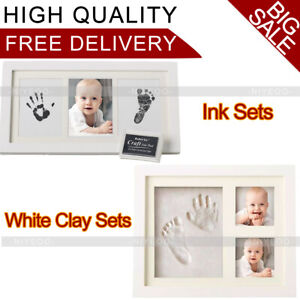 Baby Hand & Foot Print Clay Cast Kit with 2 Photo Picture Frame Christening Gift