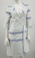 Palla Vienna Kitchen Kouture Wrap Dress Medium White Blue Plaid Cotton Pockets