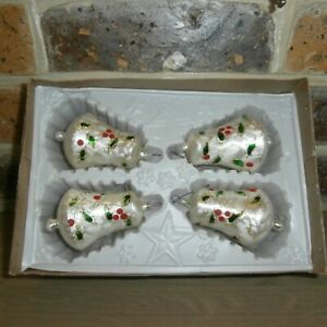 Set of 4~VINTAGE Glass Christmas Tree Decorations~ White Green Red Bells~ Holly