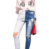 Double color Bule Stretch Jeans Women Hole Ripped High Wais jeans pencil Jeans