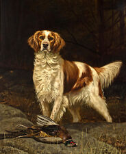 Canvas Print Oil painting Irish red and white setter Dog printed on canvas L1167