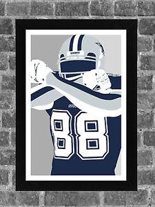 Dallas Cowboys Dez Bryant Portrait Sports Print Art 11x17