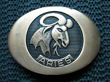 ARIES BELT BUCKLE! VINTAGE! RARE! INDIANA METAL CRAFT! 1976! RAM! BIG HORN! LOOK