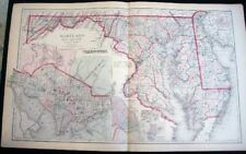 1882 ORIGINAL DOUBLE-PAGE MAP OF MARYLAND DELAWARE & DC + RICHMOND + BALTIMORE