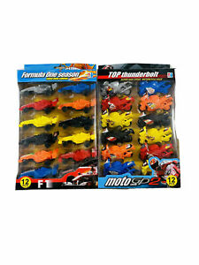 Friction Toy Formula One Cars and Super High Speed Motorcycle 12 PCS