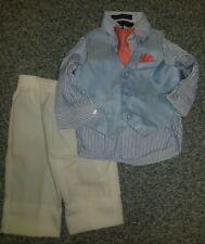 Boys dressy 4 piece outfit suit button down tie vest pants Andrew fezza 12 month