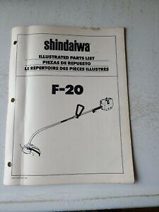 Vintage Shindaiwa Illustrated Part List F-20 String Trimmer Weed Eater Original