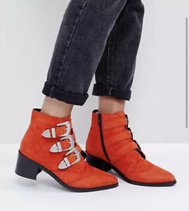 ASOS Relieve Orange Suede Ankle Boots - Size UK 7