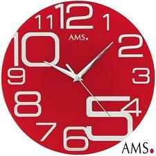 Ams 9462 Horloge murale Quartz Analogique Rouge Rond moderne