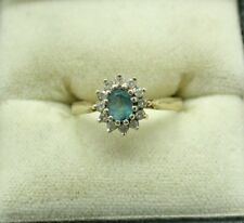 Pretty 9 Carat Gold Blue Topaz And Diamond Cluster Ring Size K.1/2