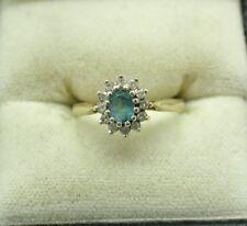 Pretty 9 KT Oro Topazio Blu E Anello Di Diamanti Cluster Taglia K.1/2