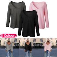 Womens Long Sleeve V-Neck Sweater Jumper Ladies Autumn Tops Blouse Pullover UK