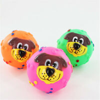 Pet Puppy Cat Dog Face Squeaky Squeaker Sound Soft Rubber Play Ball Fun Chew Toy