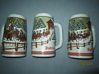 1984 Budweiser Holiday Christmas Beer Stein - Covered Bridge, 3 available