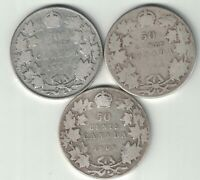 3 X CANADA 50 CENTS EDWARD VII CANADIAN STERLING SILVER COINS 1907 1908 1909
