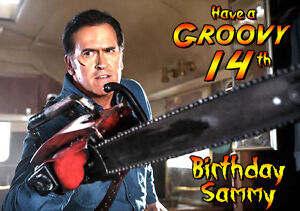 Groovy Ash Vs Evil Dead Personalised Happy Birthday Greeting Card Bruce Campbell