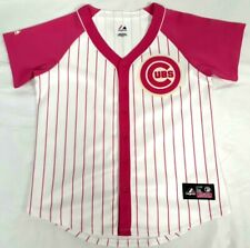 New listing #715 MAJESTIC CHICAGO CUBS PINK SEWN BASEBALL JERSEY WOMENS LADIES MEDIUM