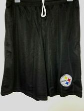 0724 Mens PITTSBURGH STEELERS Polyester Jersey SHORTS Embroidered BLK w/Pockets