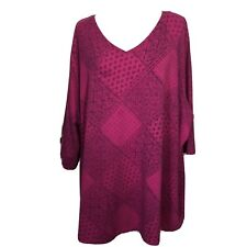 Catherines Top Size 4X Magenta V Neck Tunic Tee Blouse Fuchsia 30 32