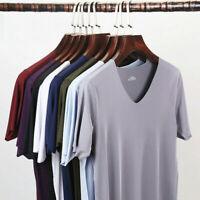 Men Ice Silk Shirt Thin Seamless Undershirts Gay Nylon Mesh V-neck Basic T Shirt