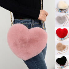 Women Love Heart Faux Fur Shoulder CrossbodyBag Mini Chain Plush Messenger Bag
