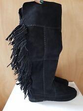 ParkLove Suede Black Boho Fringe (Minnetonka inspired) Knee High Boots UK6 EU39