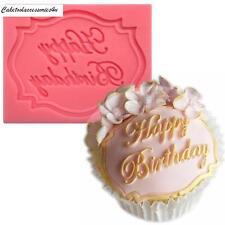 Feliz cumpleaños de Silicona Molde Pastel Decoración Glaseado Sugarcraft para Fondant Cupcake