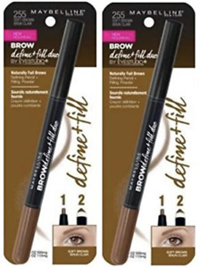 Maybelline Brow Define + Fill Duo Pencil, 255 Soft Brown, 2 Pack