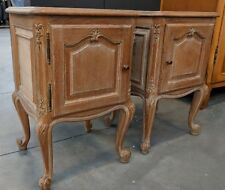 Back from France! Fab Pair Vintage French Limed Oak Louis XV Bedside Cabinets