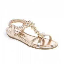 LADIES SMALL WEDGE FLAT FLORAL DIAMANTE STRAPPY SANDALS SPARKLY PARTY BEACH SHOE