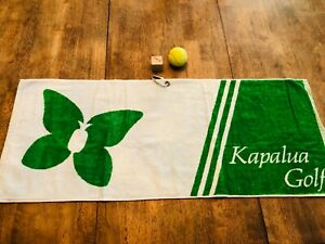 Kapalua Golf Course Hawaii Cart Size Green White Soft Microfiber Towel w/ Clip