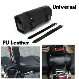 Motorcycle Tool Bag PU Leather Luggage Handle Bar Round Barrel Storage Pouch