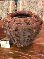 """Antique PALECEK Natural Pine Needle Basket 7.5"""" Tall 4"""" Opening VG"""