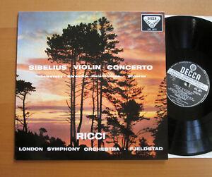 SXL 2077 Ruggiero Ricci Sibelius Violin Concerto Fjeldstad MINT Decca 180g WB