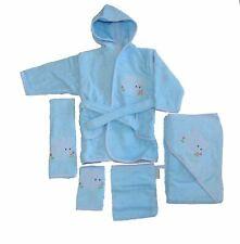 Baby Handtuch Set mit Bademantel Elefanten Motiv blau 5-tlg. 100% Baumwolle