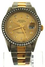 Rolex Oyster Perpetual Date Watch 18K Steel 15203 Diamond Dial Bezel Datejust