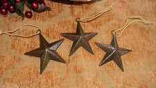 """3"""" Gold Metal Star Ornaments (Set of Three)  Country  Christmas Decor"""