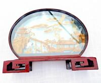Vintage Chinese Cork Sculpture Diorama 11.5 inch Oval Crane Pagoda Large