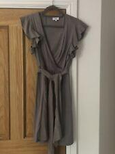Noa Noa Pale Grey Silky Jersey Wrap Dress Size L