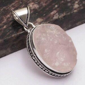 """Rose Quartz Rough Gift Handmade Antique Design Pendant Jewelry 2.12""""AP 5168"""