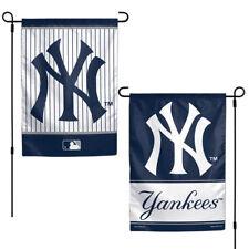 """NEW YORK YANKEES TEAM GARDEN WALL FLAG BANNER 12"""" X 18"""" 2 SIDED MLB BASEBALL"""