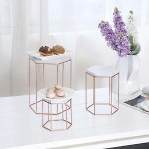 Geometric Set of 3 White Wood & Rose Gold Toned Metal Cake Display Riser Stands
