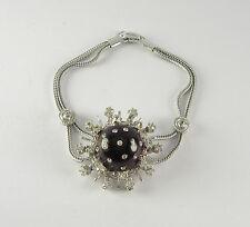 Vtg White Rhinestone Red Plastic Bracelet Silver Tone Jewelry Retro Snowflake