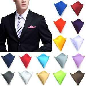 Men Hanky Silk Solid Color Suits Pocket Square Wedding Party Small Handkerchief