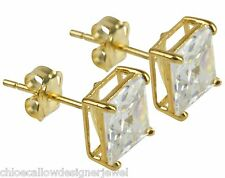 1x Pair of 9ct Yellow Gold 6mm Square CZ Gem Set Ear Studs Earrings + gift bag
