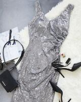Ever-Pretty US Silver V-Neck Sequins Wedding Dress Long Party Holiday Gown 07405