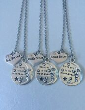 I love you to the moon and back big sister middle sister little sister necklaces