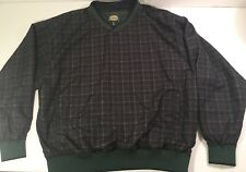 Cabela's Men's XL Green Plaid V-Neck Windbreaker Jacket Golf Pullover RN 56835